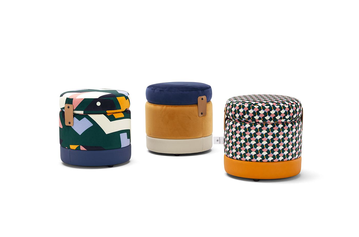 TONDER! è il pouf contenitore con struttura in legno e interno foderato. La placca in cuoio con clip laccate sigilla TONDER! una volta utilizzato come contenitore e aiuta a tenere fermo il cuscino di seduta.